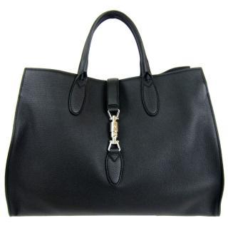 【GUCCI】全皮革經典五金扣環大型手提包(黑)