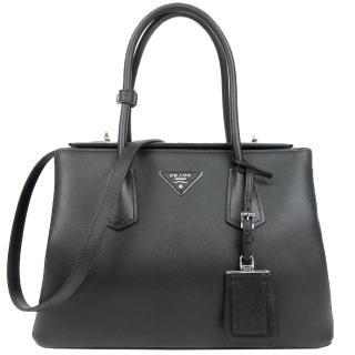 【PRADA】Double Bag系列防刮牛皮肩背/手提托特包(大/灰)