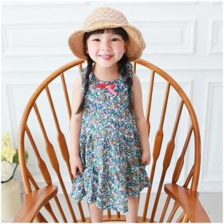 【baby童衣】兒童洋裝 緞帶鄉村碎花連身裙53019(寶藍)