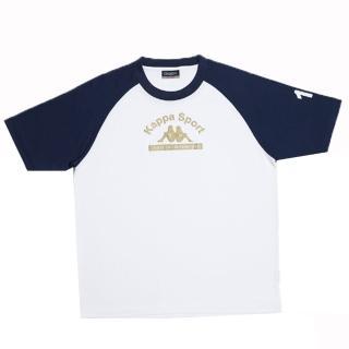 【KAPPA】1件義大利小朋友吸濕排汗速乾彩色圓領衫(丈青-白色)