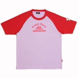 【KAPPA】1件義大利小朋友吸濕排汗速乾彩色圓領衫(粉紅-紅)