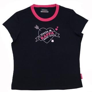 【KAPPA】1件義大利小朋友吸濕排汗速乾彩色圓領衫(黑/紅)