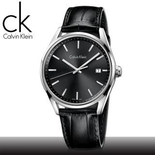 【瑞士 CK手錶 Calvin Klein】強化玻璃_日期窗_皮錶帶_紳士錶(K4M211C3)