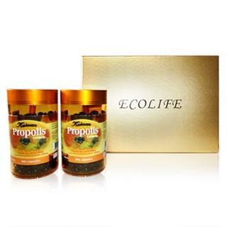 【Ecolife 綠生活 澳洲原裝進口】天然高濃縮蜂膠膠囊(禮盒 1000mg/365顆 二罐)