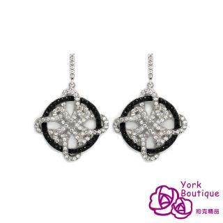 【約克精品】滿冠花芳方晶鋯石包銠金針式耳環