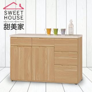 【甜美家】北歐風原木白4尺石面餐櫃(附石面)