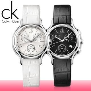 【瑞士 CK手錶 Calvin Klein】甜蜜玫瑰金_三眼造型皮革女錶(K2U296L6)