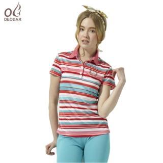 【DEODAR】女款彈性條紋吸濕透氣POLO衫