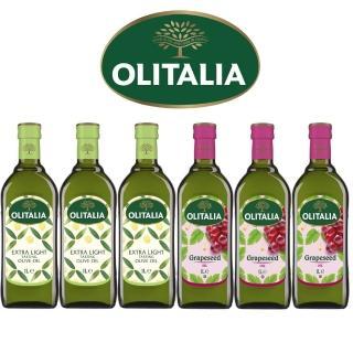 【Olitalia奧利塔】精製橄欖油+葡萄籽油禮盒組(1000mlx2瓶 x 3組)