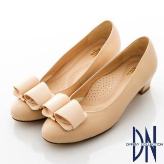 【DN】通勤首選 MIT魅力羊皮素面立體蝴蝶結跟鞋(裸)