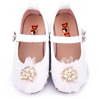 【童鞋城堡】日本娃娃 中童 法式浪漫公主鞋(1127-白)
