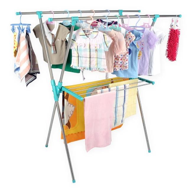 【LIFECODE】小太陽-免螺絲X型曬衣架附毛巾架-帝芬妮藍-桃紅 2色可選(送曬鞋架)