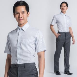 【極品西服】質男入門款商務短袖襯衫_藍白條(SS412-80)