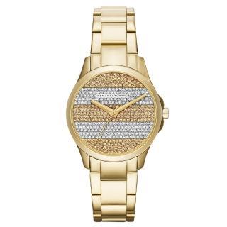 【AX Armani Exchange】迷人丰采時尚晶鑽腕錶-金(AX5242)