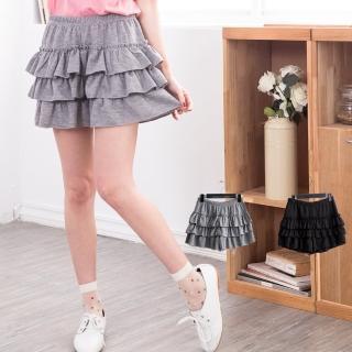 【衣心衣意中大尺碼】日系唯美層次蛋糕褲裙(黑-灰B8007)