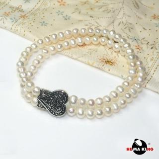 【HEMAKING】5mm 珍珠雙環愛心手鍊