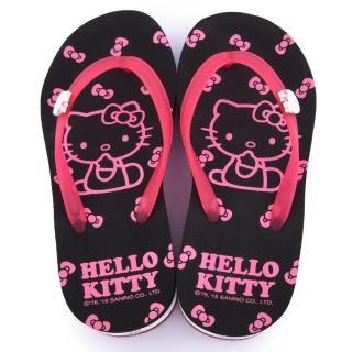 【三麗鷗】Hello Kitty 女款 甜美厚底夾腳拖(915048-黑)