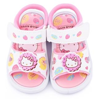 【三麗鷗】Hello Kitty 小童 甜點風嗶嗶涼鞋(815713-白)