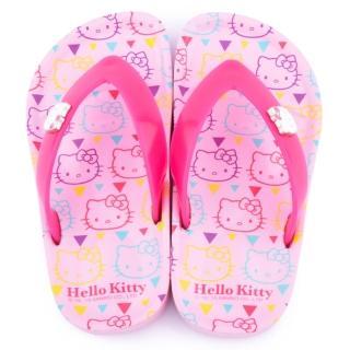 【三麗鷗】Hello kitty 中大童 滿版KITTY夾腳拖(815756-粉)