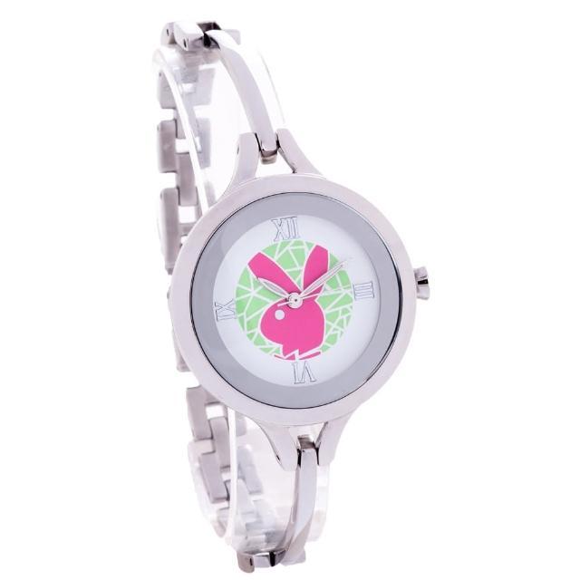 【PLAYBOY】鍊錶 鋼帶+銀框/32mm(PW2014GR)