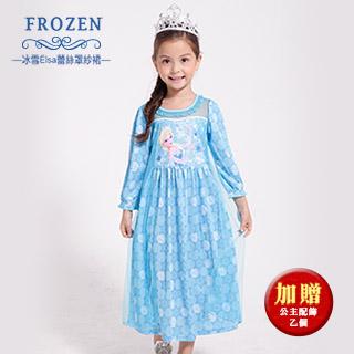 【SuperBO】休閒小洋裝-冰雪奇緣Elsa 蕾絲罩紗裙(薄長袖)