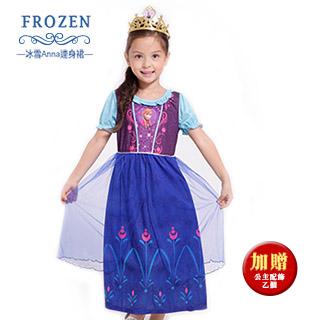 【SuperBO】休閒小洋裝-冰雪奇緣Anna 可愛連身裙(短袖)