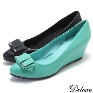 【Deluxe】全真皮小尖頭高跟鞋(清新楔型增高鞋 膚/綠)
