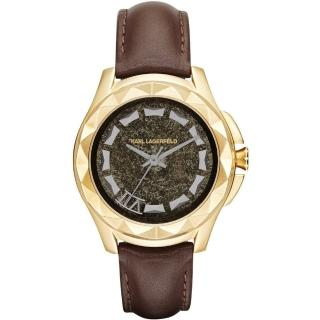 【KARL LAGERFELD】KARL 7系列搖滾星錐三針腕錶-金框x咖啡帶(KL1038)