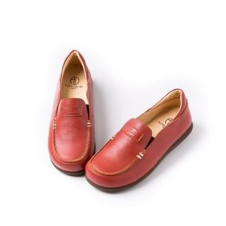 【ALAIN DELON】真皮舒適百搭女休閒鞋W7541(3色 黑色 米色 磚紅色)