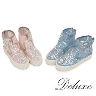 【Deluxe】高筒厚底休閒鞋(超透氣蕾絲網紗)