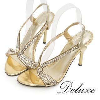 【Deluxe】水鑽羊皮高跟涼鞋(夏日奢華派對-金色)