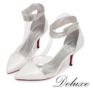 【Deluxe】全真皮尖頭高跟鞋(典雅繞踝水晶-白色)