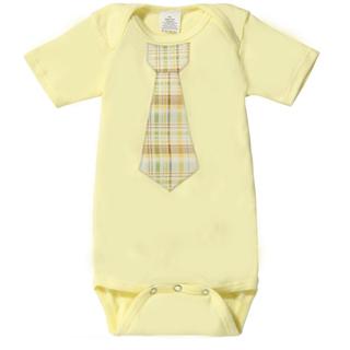 【The Happy Cow】紳士領帶短袖包屁衣-檸檬黃格紋款