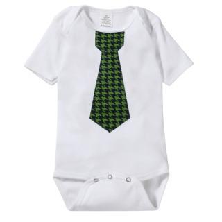 【The Happy Cow】紳士領帶短袖包屁衣-綠色千鳥款