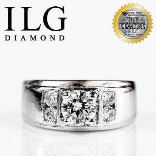 【ILG鑽】頂級八心八箭擬真鑽石戒指-非凡氣度款 RI044 主鑽約75分簡約男戒中性款(白K金色)