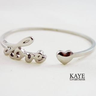 【Kaye歐美流行飾品】LOVE心型開口手環