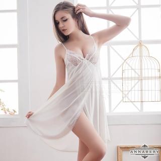 【Annabery】大尺碼Annabery純淨白蕾絲側開襟柔緞睡衣