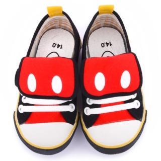 【童鞋城堡】迪士尼 中童 米奇帥氣造型帆布鞋(453627-黑)