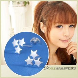 【維克維娜】星的祈願。三星星相伴貼耳耳環。925純銀耳環