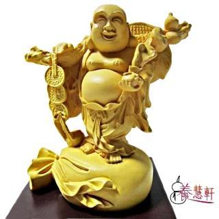 【養慧軒】金剛砂陶土精雕佛像-財神彌勒(木色)