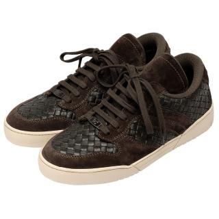 【BOTTEGA VENETA】經典編織小羊皮X麂皮休閒鞋(深咖啡308885-VT032-2006)