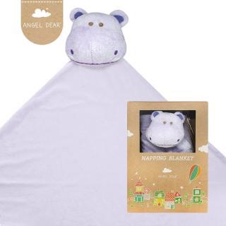 【美國 Angel Dear】大頭動物嬰兒毛毯(紫色河馬)