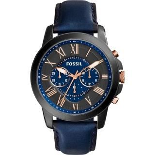 【FOSSIL】Grant 旗艦三眼計時復刻腕錶-黑x藍(FS5061)