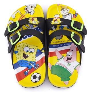【童鞋城堡】海綿寶寶 中童 足球風不對稱拖鞋(SG1269-黃)