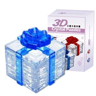 【3D立體水晶拼圖】3D Crystal Puzzles 愛的禮物(8cm系列-藍色38片)