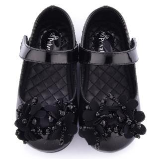 【童鞋城堡】二等兵 中童 立體蕾絲花朵公主鞋(5313-黑)