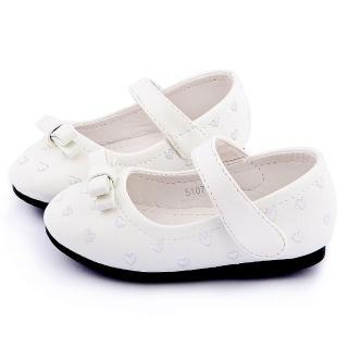 【童鞋城堡】二等兵 小童 刺繡愛心寶寶公主鞋(5107-白)
