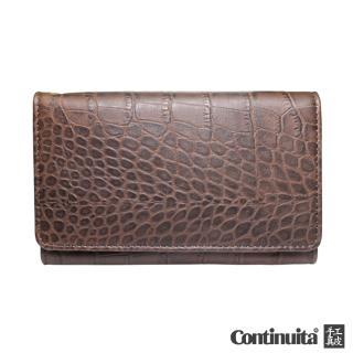 【真皮屋 CONTINUITA】MIT 鱷魚紋手拿包(咖啡色)