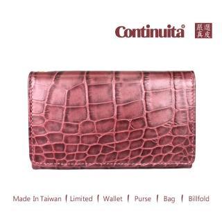 【真皮屋 CONTINUITA】MIT 鱷魚紋手拿包(紫紅色)