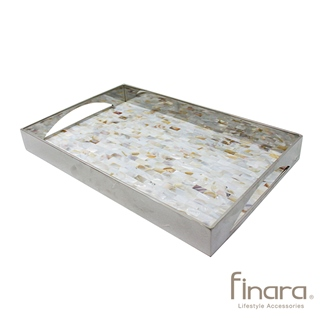 【finara費納拉】自然奢華系-不銹鋼天然貝殼馬賽克托盤(大)